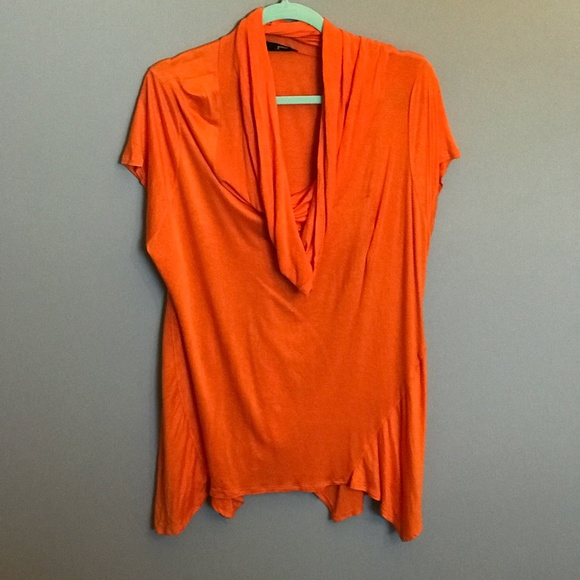 Bright Orange Cowl Neck Top. Super Comfy and Loose